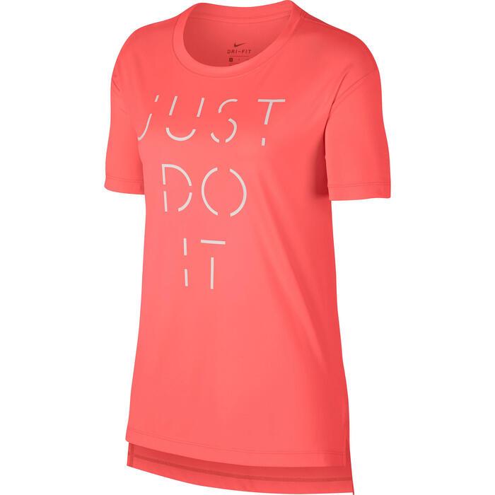 Dames T-shirt Nike voor gym en pilates Just Do It roze