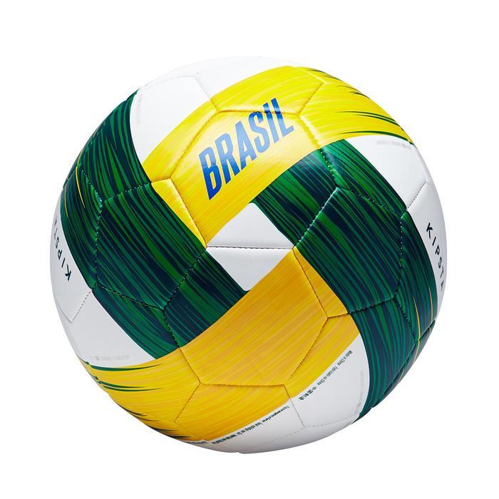 Ballon football Brésil taille 5 blanc jaune vert - 1292669