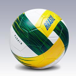 Ballon football Brésil taille 5 blanc jaune vert