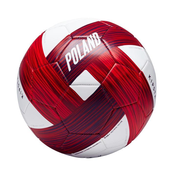 Ballon football Pologne taille 5  blanc rouge - 1292745
