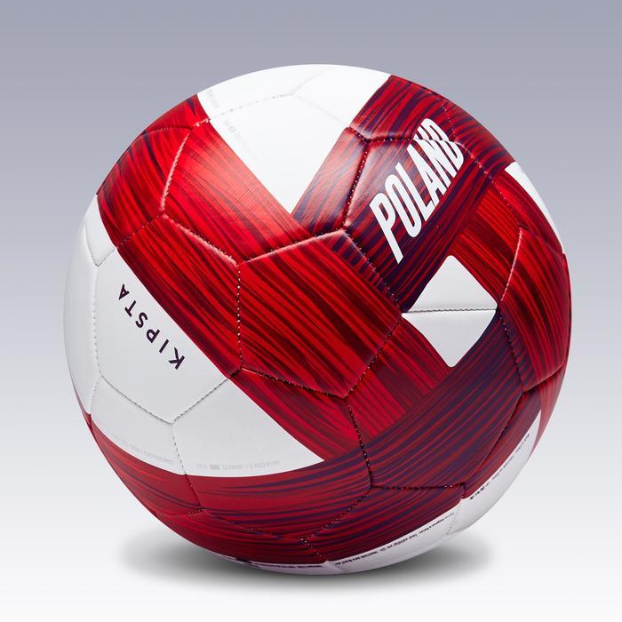 Ballon football Pologne taille 5  blanc rouge - 1292748