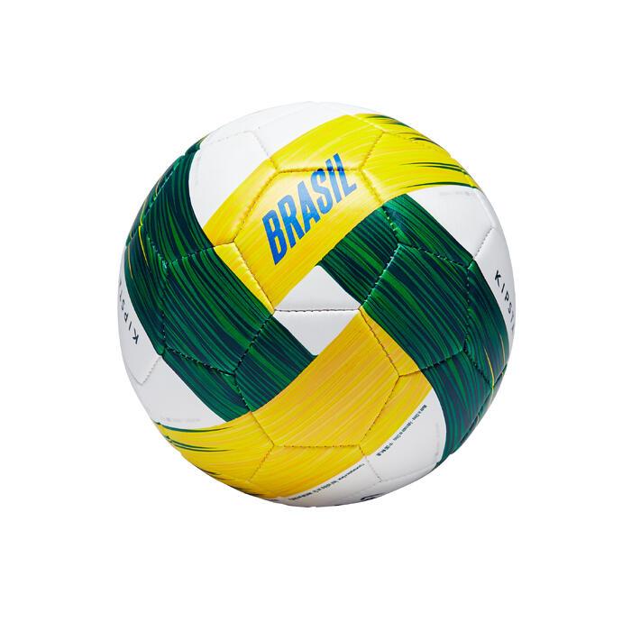 Ballon football Bresil taille 1 vert blanc jaune