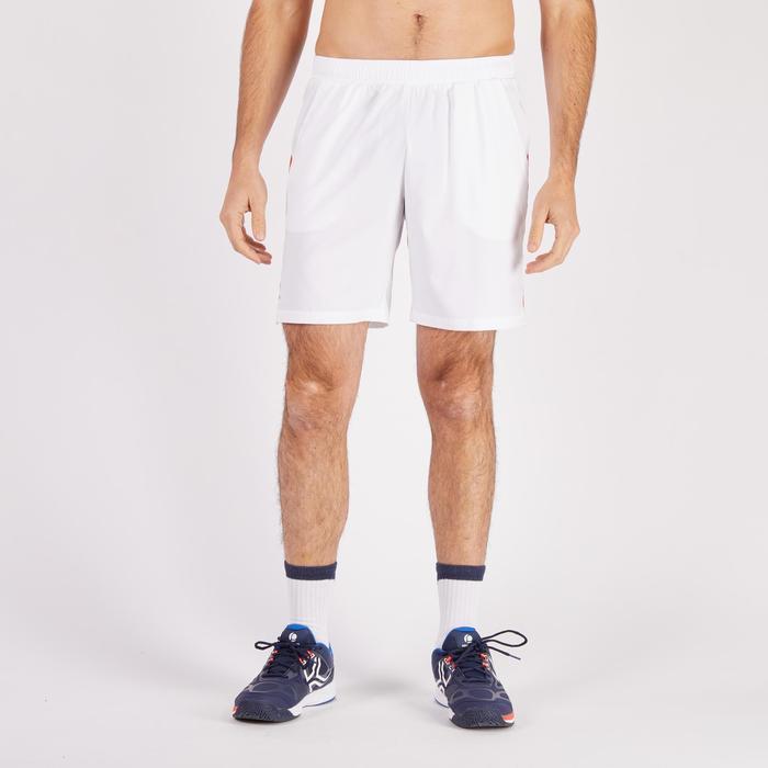 Tennisshort heren Dry 500 wit/blauw/rood