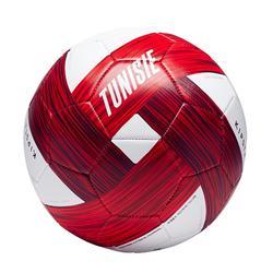 Balón de fútbol Túnez talla 5 blanco y rojo