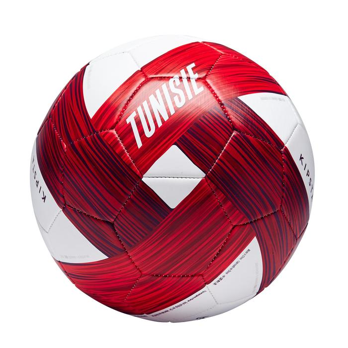 Ballon football Tunisie taille 5 blanc rouge - 1293160