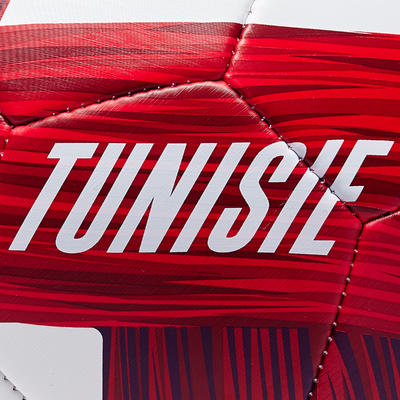 Ballon football Tunisie taille 5 blanc rouge