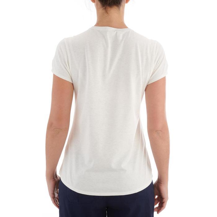 Camiseta de senderismo en la naturaleza mujer NH500 blanco chiné