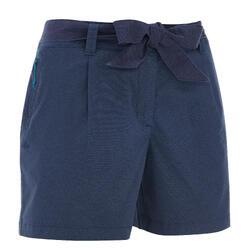 女款郊野健行短褲NH500-軍藍印花款