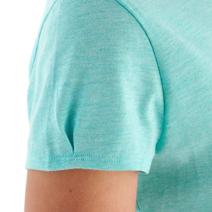 Camiseta senderismo naturaleza mujer NH500 azul turquesa