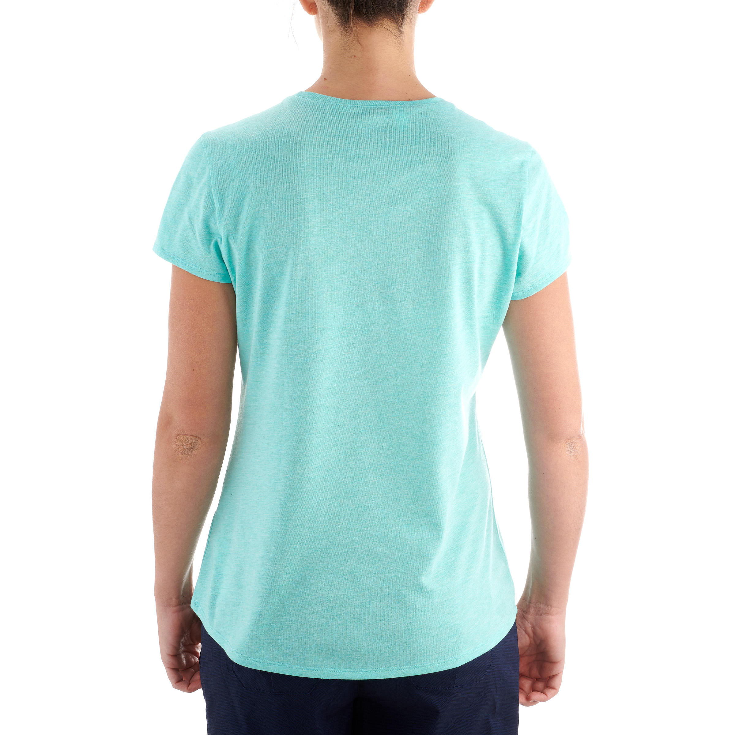 T-Shirt de randonnée nature femme NH500 turquoise