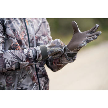 Uiterst lichte handschoenen Actikam 100 voor de jacht camouflage bruin