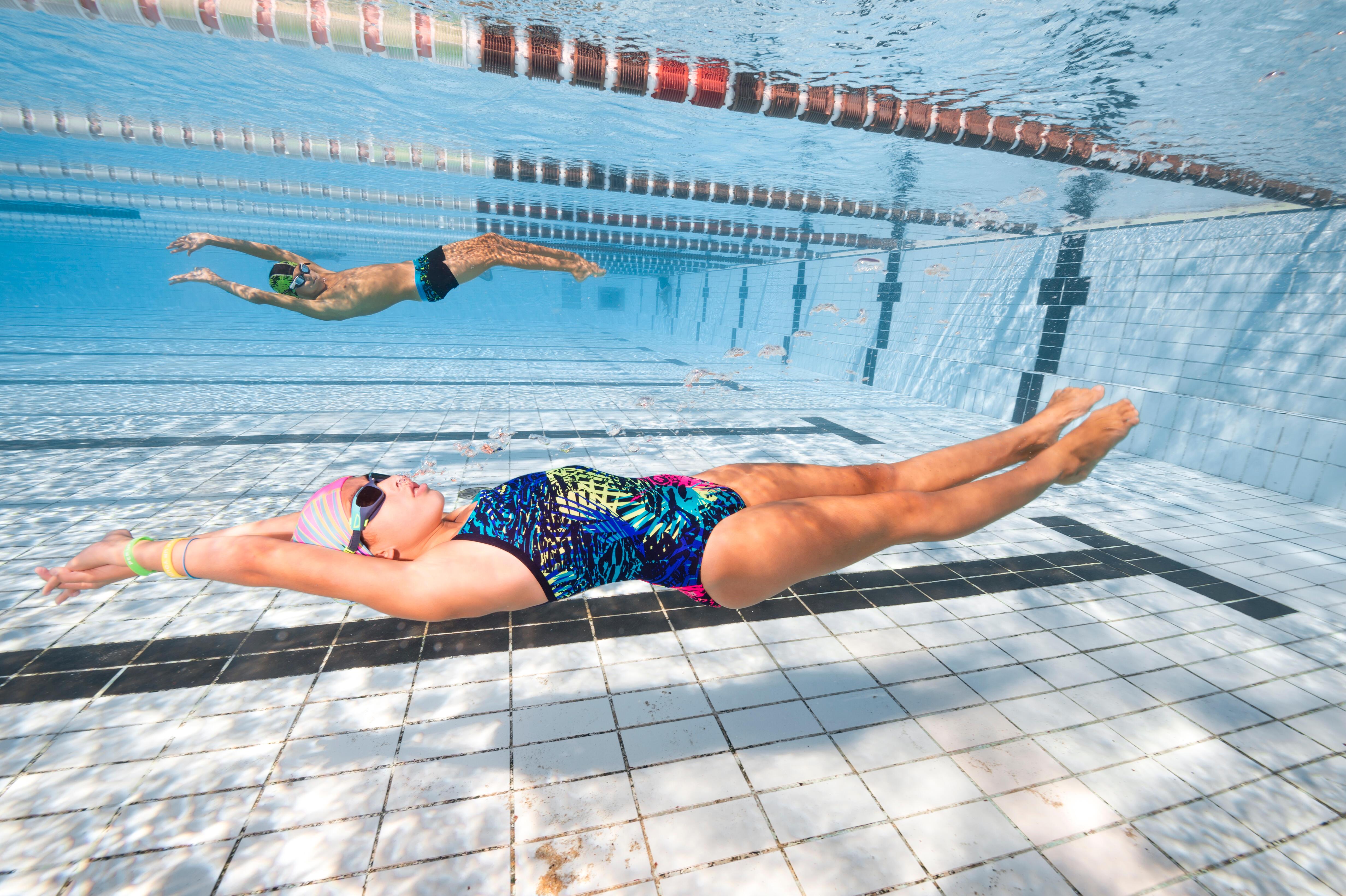 Jade Girls' Chlorine Resistant One-Piece Swimsuit - Jun Blue
