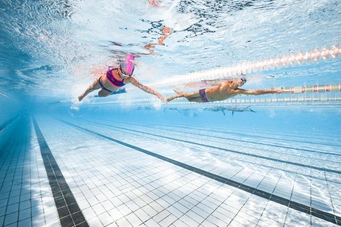 Bas de maillot de bain de natation fille résistant au chlore Jade noir rose - 1293831