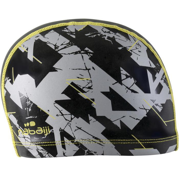 Stoffen badmuts met siliconen coating, met print, maat L Dry zwart