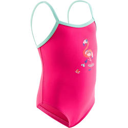 Pink baby girl's one-piece Famingo printed swimsuit