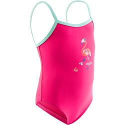 Bañador bebé niña una pieza rosa con estampado Flamenco