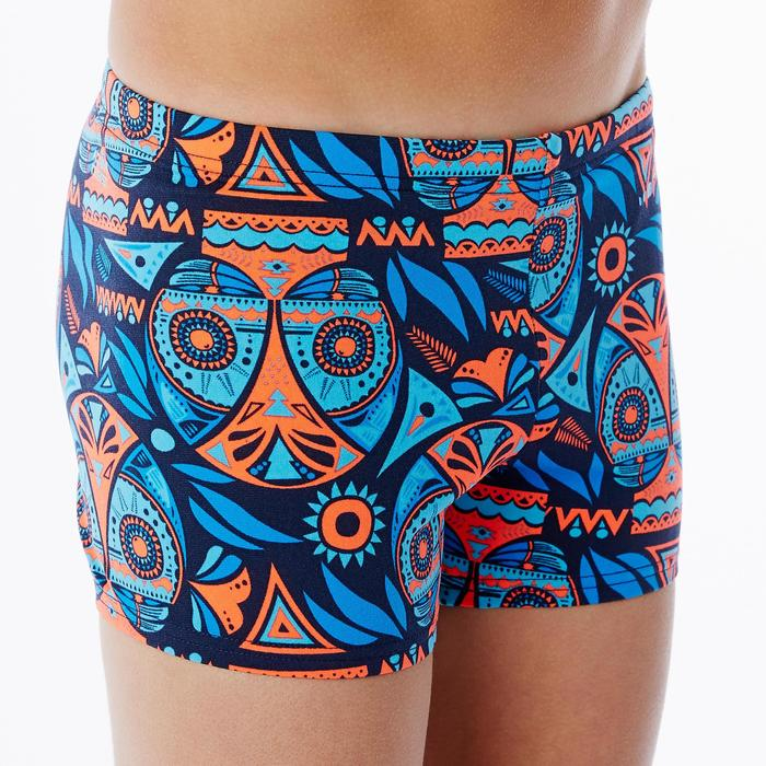 MAILLOT DE BAIN GARçON BOXER 500 PRINT ALL OWLA ORANGE