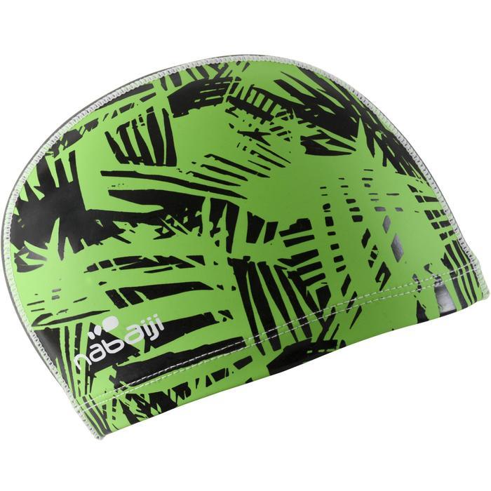 Stoffen badmuts met siliconen coating, met print, maat S Rif groen