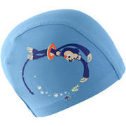 Mesh Print Swimming Cap, Size S - Monkey Blue