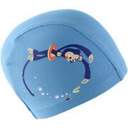 Modra mrežasta plavalna kapa s potiskom opice (velikost S)