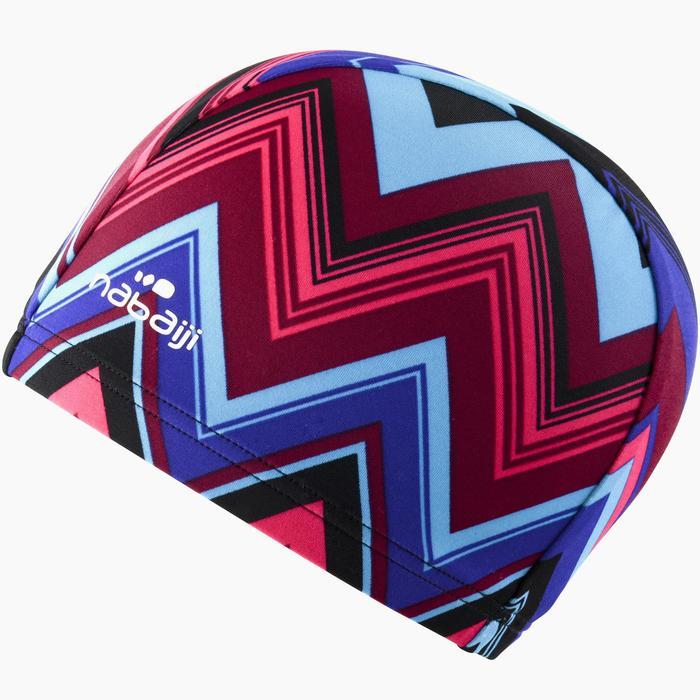 Badmuts textiel met prints maat L Allevro blauw