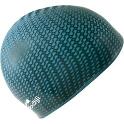 Gorro Natación Piscina Nabaiji 500 Adulto Silicona Negro/ Azul Estampado