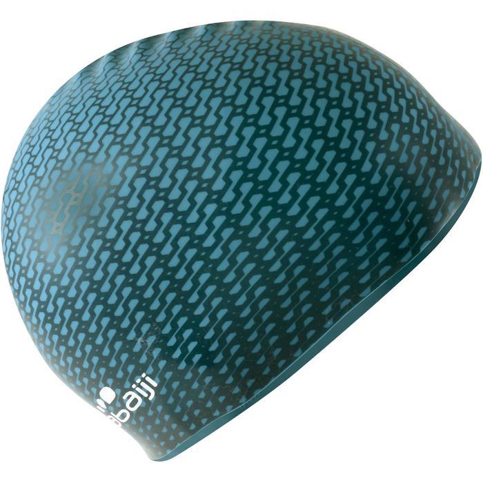 Siliconen badmuts met print Tec blauw