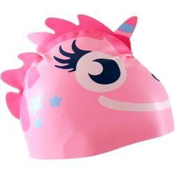 BONNET DE BAIN SILICONE FORM UNICORN ROSE