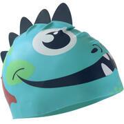 Modra silikonska plavalna kapa v obliki zmaja