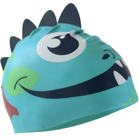 SILICONE FORM SWIM CAP - DRAGON BLUE