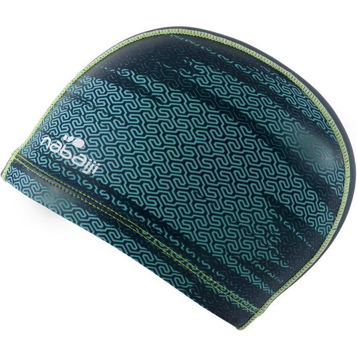 Stoffen badmuts met siliconen coating, met print, maat L Lab blauw