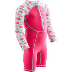 Maillot shorty swim bébé manches longues imprimé rose