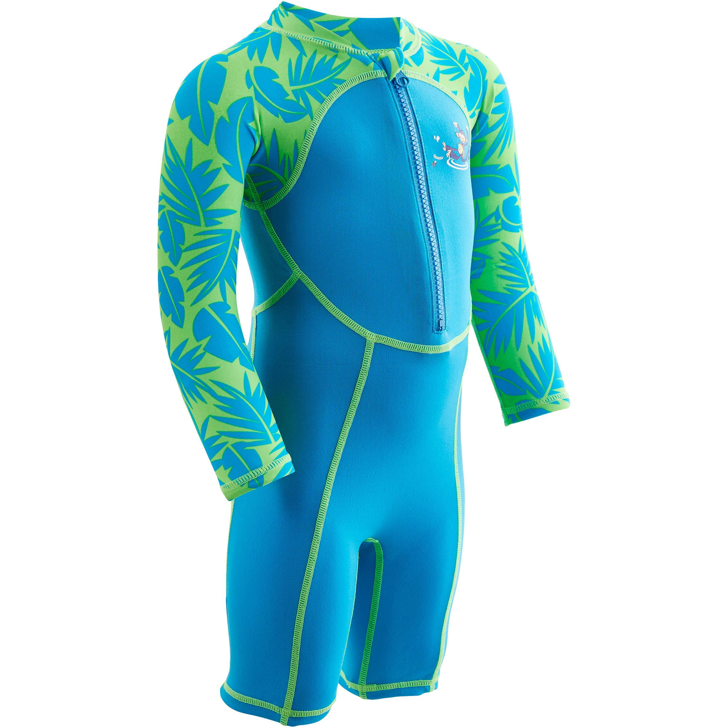 Baby,Kinder,Jungen,Kinder Schwimmanzug Shorty langarm Baby Print Monkey blau/grün | 03583788142300