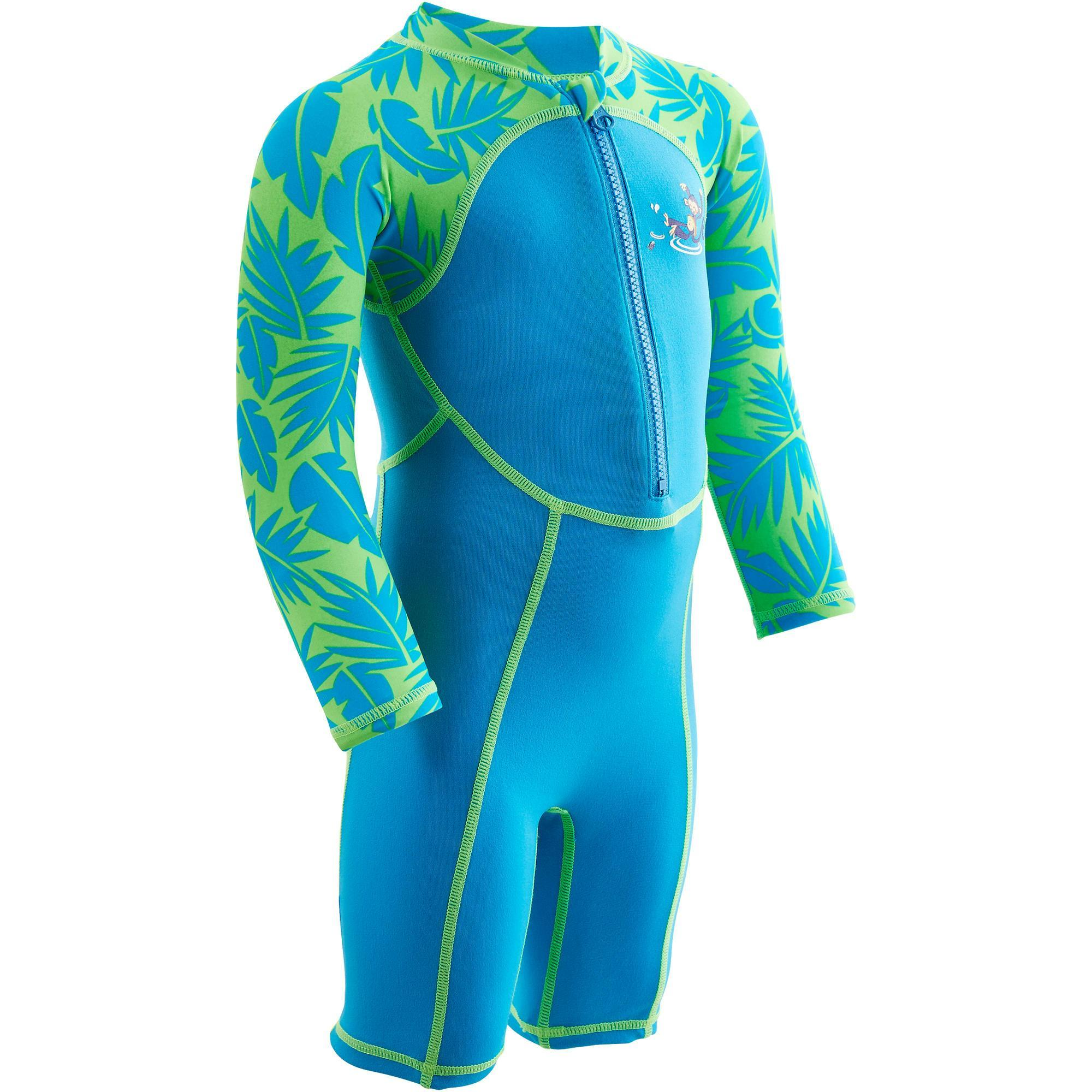 Nabaiji Zwempakje met lange mouwen voor peuters blauw en groen print