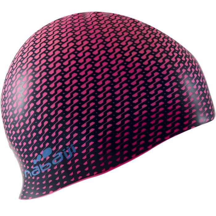 Badekappe Silikon 500 Print Tec rosa