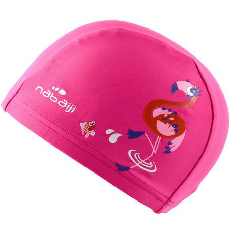 Mesh Print Swimming Cap, Size S - Flamingo Pink