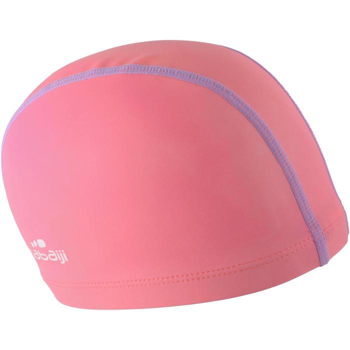 Stoffen badmuts met siliconen coating effen roze/paars