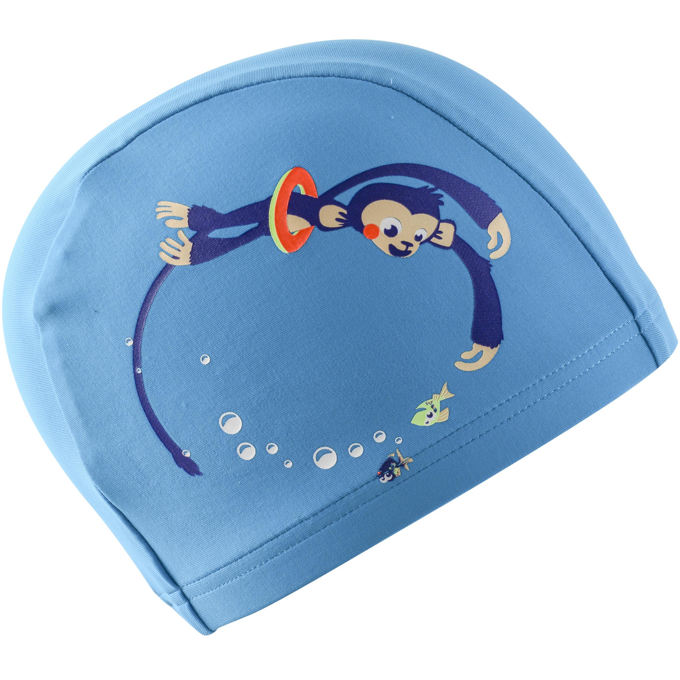 Swim Cap Mesh- Printed Monkey Blue
