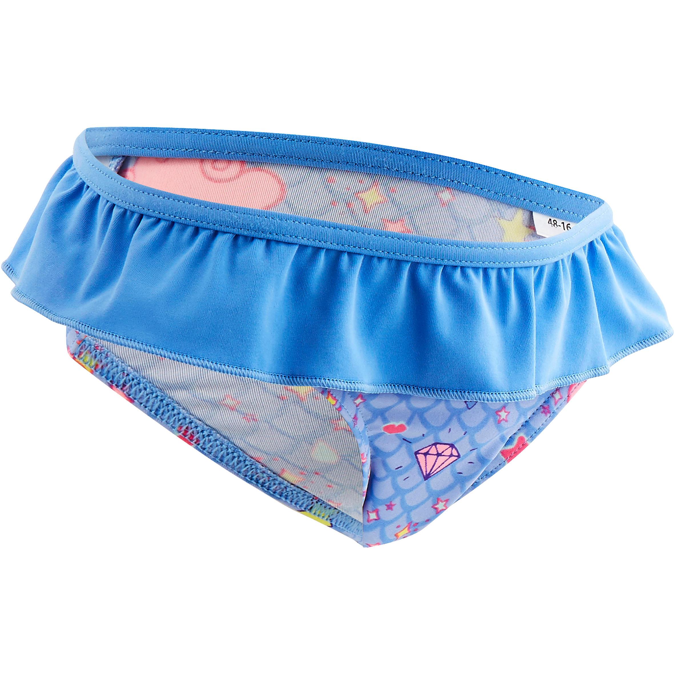 Traje de baño 1 pieza panty bebé niña azul estampado