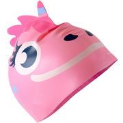 Rožnata silikonska plavalna kapa v obliki samoroga