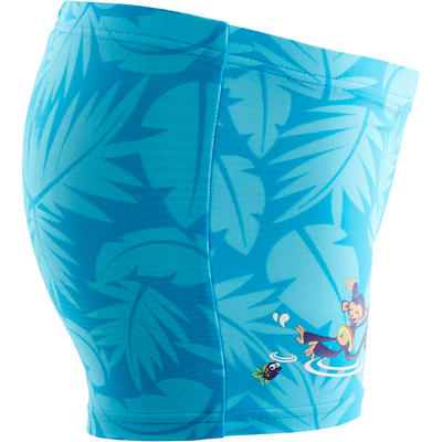 Blue baby boy's monkey print boxer swim shorts
