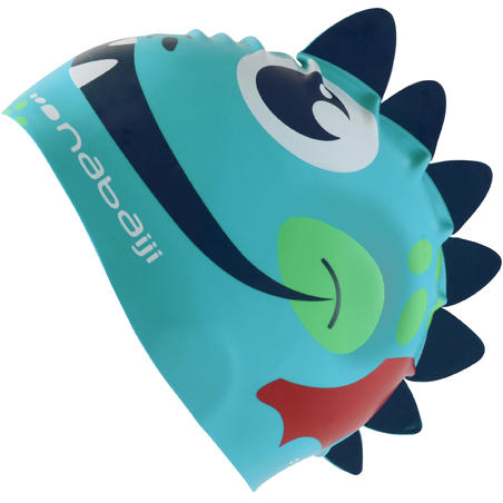 SILICONE FORM SWIM CAP - DRAGON BLUE