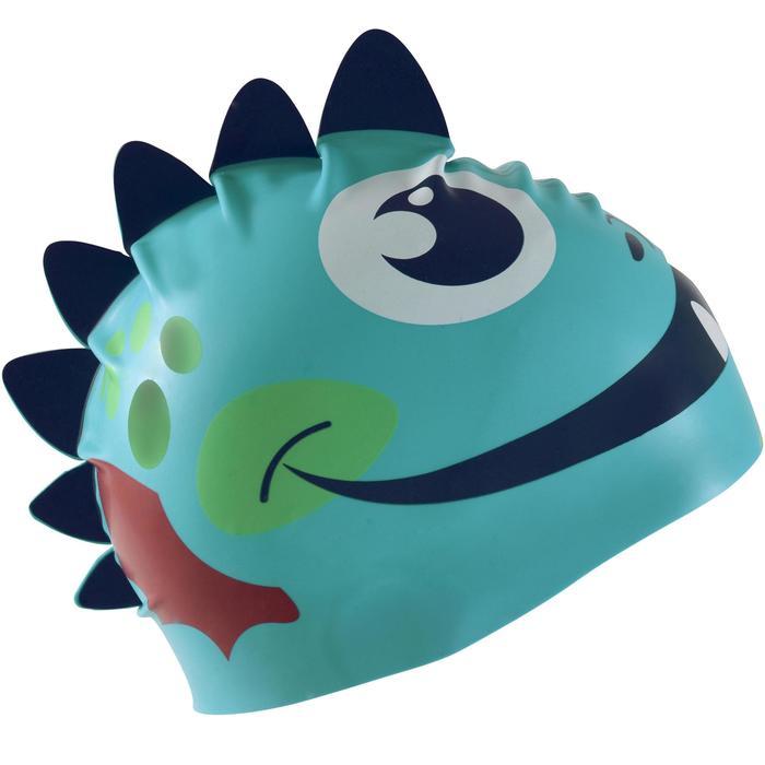 矽膠造型泳帽 - 龍圖案/藍色