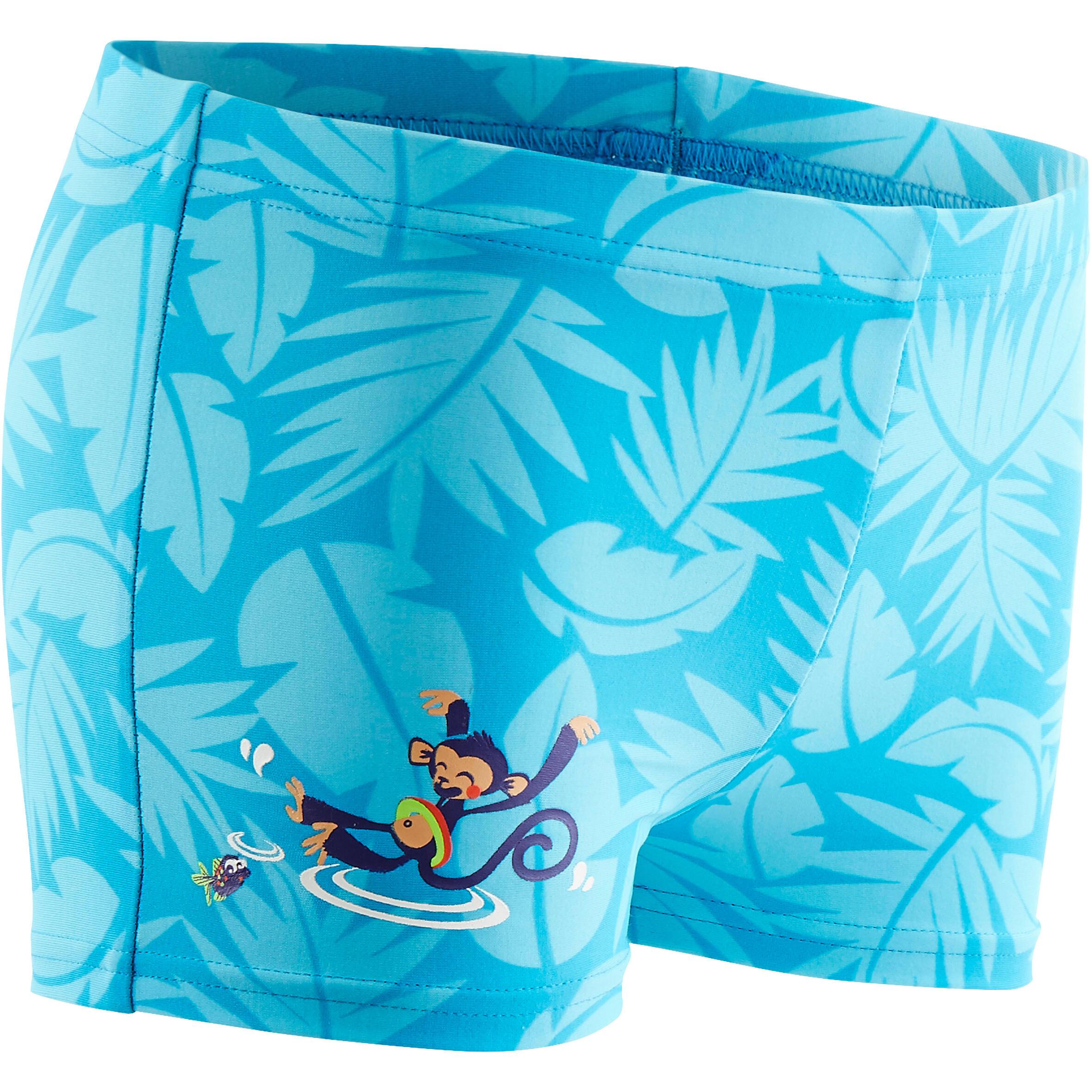 Maillot de bain bébé garçon boxer titou all palm  bleu imprimé singe
