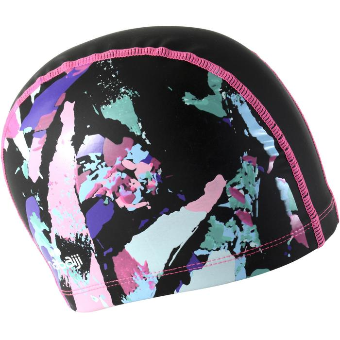 矽膠網眼印花泳帽500,L號 - CUT黑色