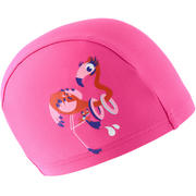 Rožnata mrežasta plavalna kapa s potiskom flaminga (velikost S)