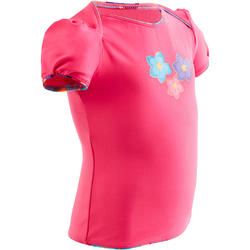 Pink Tankini baby girl's swimsuit top with printed flowers