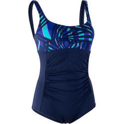 女款塑身型水中運動連身泳衣Mary - Fici 藍色
