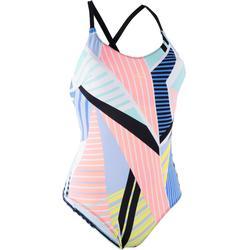 Riana Women's One-Piece Low Cut Swimsuit - Pop Blue
