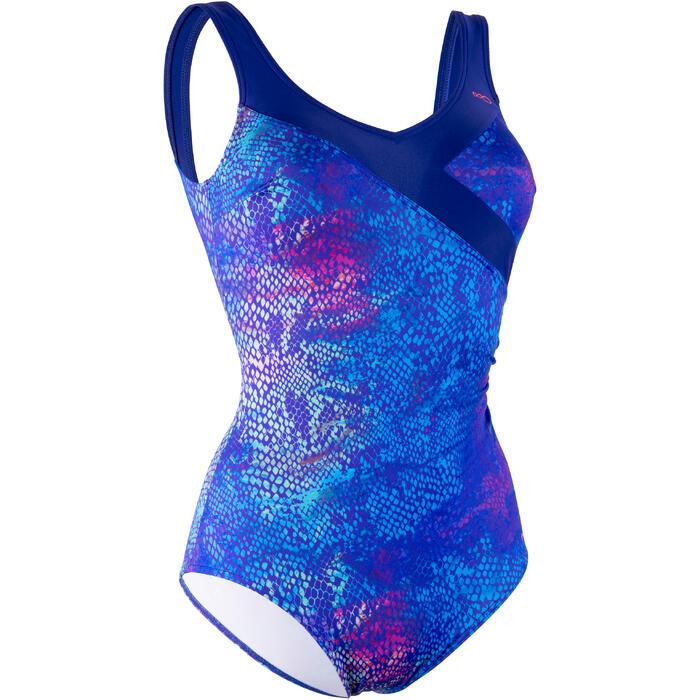 Badeanzug Aquagym Karli Snake figurformend Damen blau